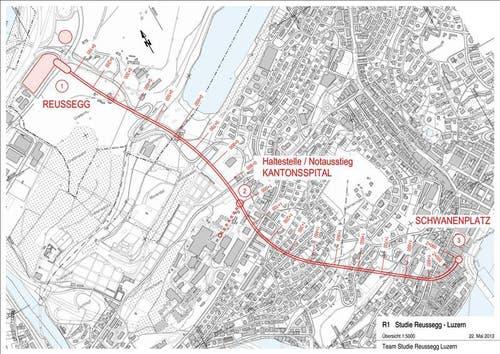 Streckenführung der geplanten Metro Luzern. (Bild: PD)