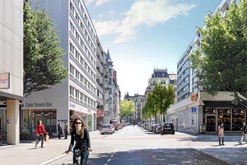 Die Winkelriedstrasse wie sie nach der Sanierung aussehen soll. (Bild: pd / Visualisierung)