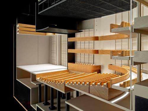 Modell grosse Bühne: Publikumsperspektive. (Bild: Visualisierung PD)