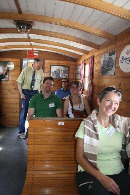 Nostalgische Züge waren die Attraktion auf dem Jubiläumsfest in Giswil. So sieht der Dampfzug von innen aus. (Bild: Marion Wannemacher / Neue OZ)