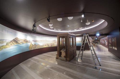 17.5.17: Die letzten Arbeiten im Museum im Bürgenstock-Hotel sind im Gang. (Bild: Urs Flüeler / Keystone)