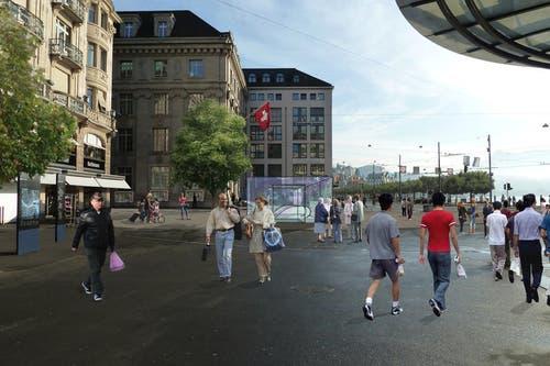 13. Juni: Wo heute Reisecars en masse parkieren, könnte dereinst ein freier Schwanenplatz mit Metrostation zum Flanieren und Verweilen einladen.Schon in fünf Jahren soll die Metro vom Autobahnanschluss Emmen-Süd zum Schwanenplatz fahren. Das Projekt soll privat finanziert werden - mit 400 Millionen Franken. (Bild: Visualisierung PD)
