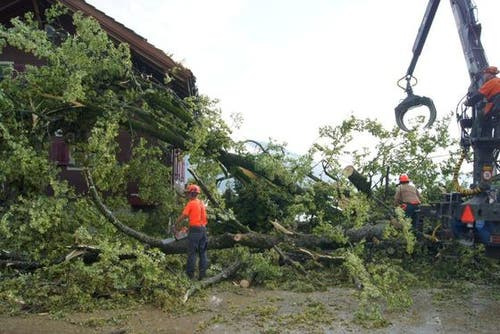 In Oberägeri an der Morgartenstrasse stürzte ein Baum auf ein Hausdach. (Bild: Zuger Polizei)