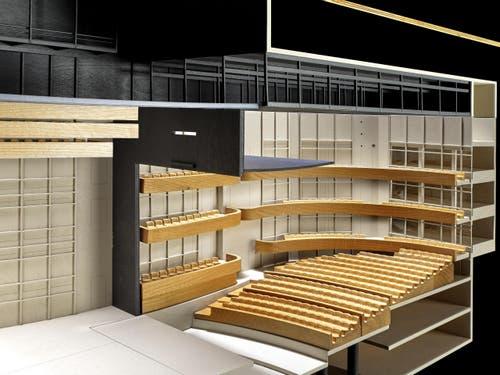 Modell grosse Bühne: Bühnenperspektive. (Bild: Visualisierung PD)