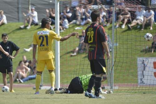 Der Luzerner Dario Lezcano (Mitte) bejubelt seinen zweiten Treffer. (Bild: Keystone)