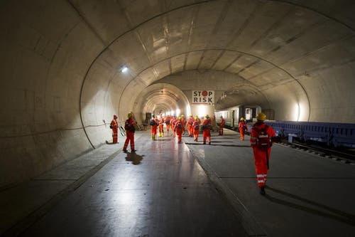 02.04.2013: Medienbesichtigung im Gotthard-Basistunnel. (Bild: Keystone)