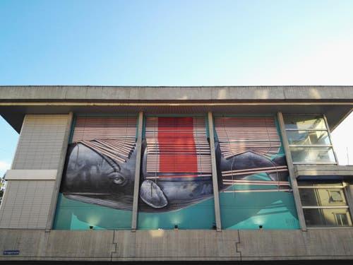 So sieht der fertige Anstrich auf der Aussenfassade des Neubads Luzern aus. (30. September 2016) (Bild: Claude Hagen)