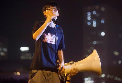 Joshua Wong, der 17-jährige Aktivist der «Occupy»-Bewegung in Hong Kong bei einer Rede im Oktober. (Bild: ALEX HOFFORD)