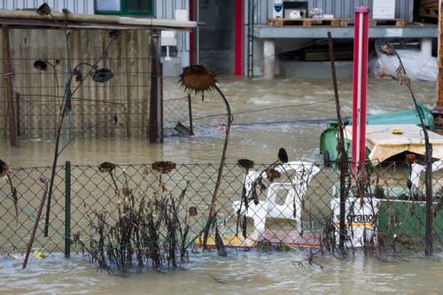 Bürogebäude, Einstellhalle und das gesamte Kies- und Betonwerk standen gemäss Imbach unter Wasser. (Bild: Pius Amrein / Neue LZ)