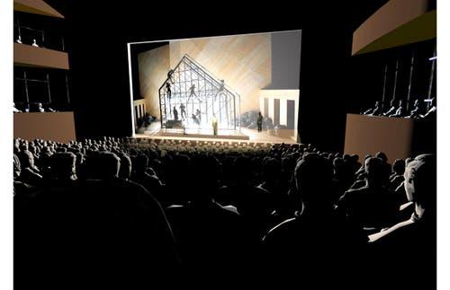 Mögliche Innenansicht der grossen Bühne im neuen Theater Luzern: Klassische Theateranordnung. (Bild: Visualisierung PD)