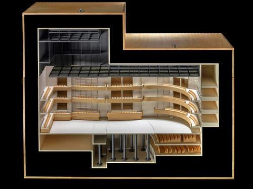 Modell grosse Bühne: offene Flachbodenanordnung. (Bild: Visualisierung PD)