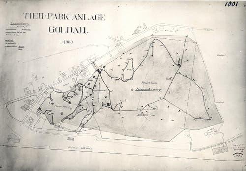 Der erste Tierpark-Plan wurde 1922 vom Zuger Kantonsingenieur Franz Müller gezeichnet. (Bild: pd / Tierpark Goldau)