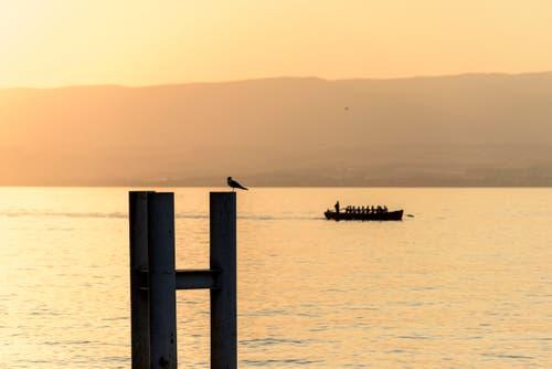 Am Abend werden die Temperaturen etwas angenehmer - hier ein Boot auf dem Genfersee. (Bild: Keystone)