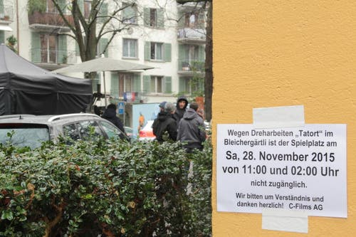 Wegen den Dreharbeiten darf das Bleichergärtli am Samstag von 11 bis bis 2 Uhr nicht betreten werden. (Bild: Claude Hagen (Neue LZ))