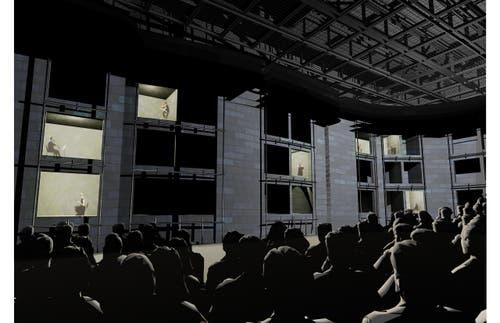 Mögliche Innenansicht der grossen Bühne im neuen Theater Luzern: Alternative Inszenierung mit Akteuren in Fensteröffnungen in der Wand.