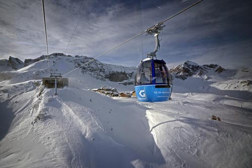 Frutt-Gondel mit der Bergstation auf der Melchsee-Frutt. (Bild: Corinne Glanzmann / Neue OZ)