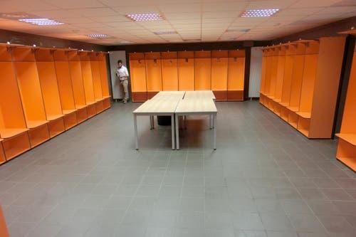 Umkleidekabine im Stade de la Mosson in Montpellier. (Bild: SFV / Marco von Ah)