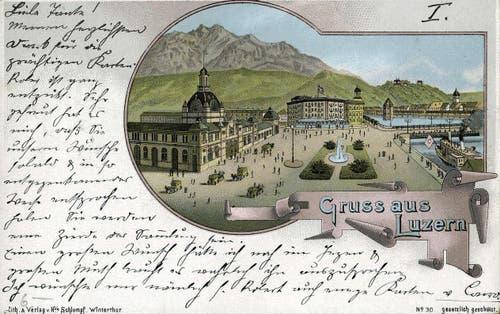 Neustadt: Bahnhofplatz, 1899 (Bild: PD)