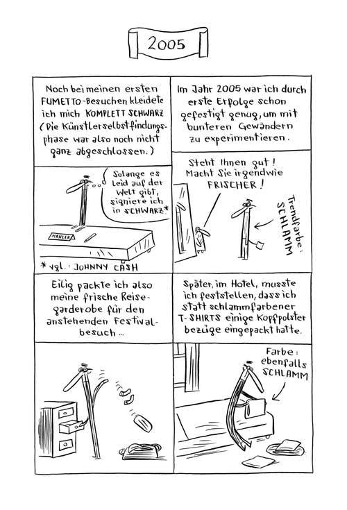 """Der österreichische Comiczeichner Nicolas Mahler reflektiert in der Fumetto-Jubiläumspublikation """"Kunstbuch"""" über seine eigene Entwicklung als Künstler."""
