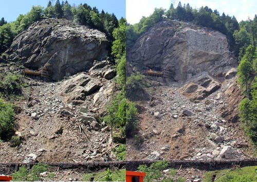 Vor der Sprengung am 16. Juni (links) und nach der Sprengung am 18. Juni. (Bild: René Meier / Luzernerzeitung.ch)