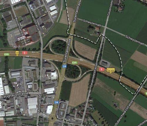 Platz 7: Sursee, Autobahn A2, 5 Unfälle (Bild: Google)