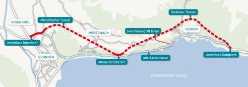 Die geplante Linienführung der neuen Axenstrasse. (Bild: PD)
