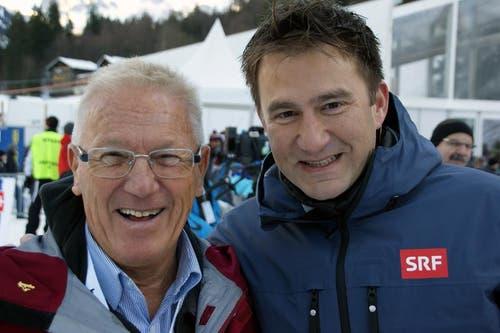 SRF-Moderator Sascha Ruefer (rechts) und OK-Präsident Ernst von Holzen. (Bild: Primus Camenzind / Neue OZ)