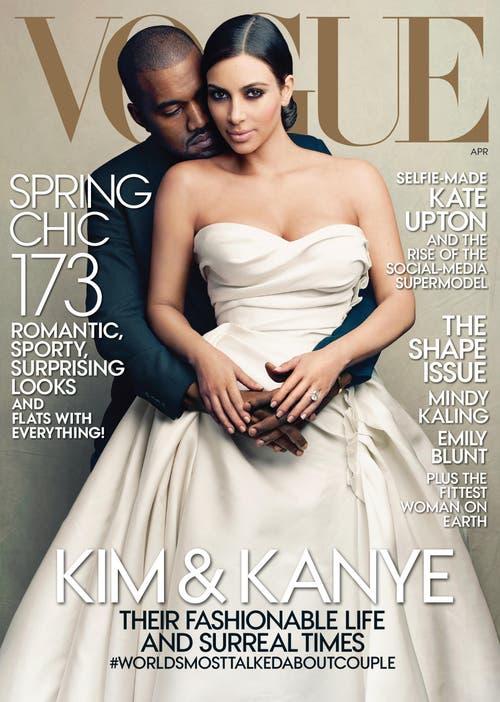 «Yeezus»-Rapper Kanye West und seine Angetraute, TV-Sternchen Kim Kardashian auf dem April-Cover der Vogue. (Bild: Annie Leibovitz / Keystone)