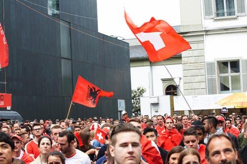 Die Fans zeigen Flagge. (Bild: Jakob Ineichen / Neue LZ)