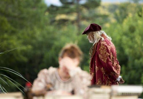 """Hoch über dem Urnersee auf dem Waldweidli in Seelisberg fanden am Samstag, 27. Juli die Proben für das Freilichtspiel """"Tell trifft Wagner"""" statt. (Bild: Keystone)"""