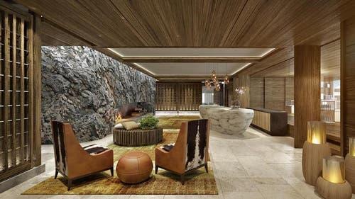 Das ganze Resort umfasst 30 Gebäude, darunter 3 Hotels und ca. 400 Zimmern bzw. 800 Betten... (Bild: Visualisierung PD)