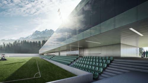 Geplant ist ein Neubau eines Fussballstadions mit 900 Sitz- und 2300 Stehplätzen (Challenge-League-tauglich) sowie ein Stadion-Restaurant. (Bild: Visualisierung PD)