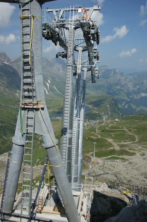 Die Einfahrt in die neue Bergstation Stand. (Bild: Philipp Unterschütz)