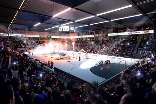 Blick in die multifunktionale Sport- und Eventhalle mit 4'000 Plätzen. (Bild: Visualisierung Raumgleiter AG, Zürich)