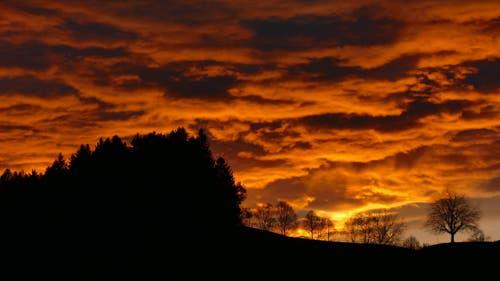 auch im Emmental konnten wir einen föhnigen Sonnenaufgang geniessen (Bild: Benjamin Fuhrer)