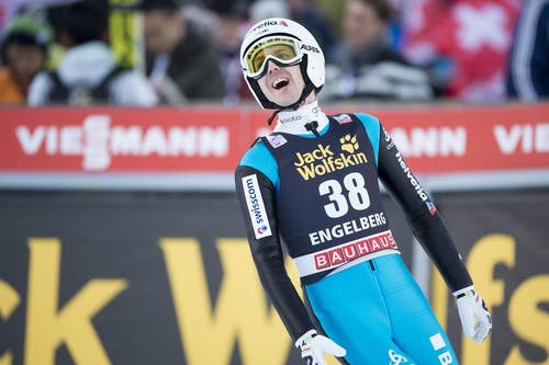 Der Schweizer Simon Amman nach einem Sprung am Samstag. (Bild: Keystone / Urs Flüeler)