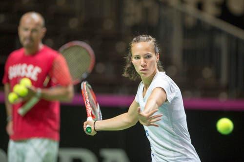 Nach dem Ausfall von Belinda Bencic ist Viktorija Golubic (Bild, WTA 129) hinter Timea Bacsinszky (WTA 17) die zweitbeste Einzelspielerin der Schweiz. (Bild: Keystone / Urs Flüeler)