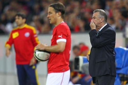 Nati-Coach Ottmar Hitzfeld (rechts). (Bild: Philipp Schmidli / Neue LZ)