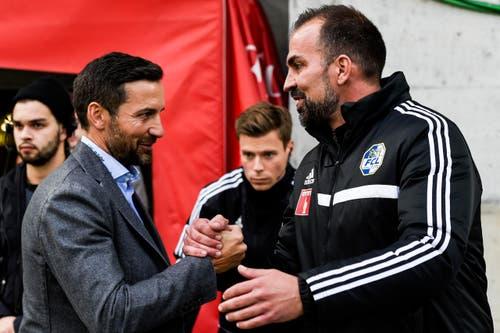 Cheftrainer Markus Babbel von Luzern, rechts, und sein Ostschweizer Kollege Joe Zinnbauer. (Bild: Keystone / Gian Ehrenzeller)