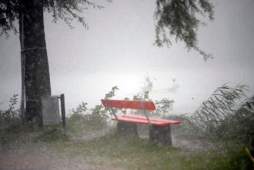 Trotz der heftigen Regenschauern rudern zwei Männer auf dem Rotsee weiter. (Bild: Manuela Jans/Neue LZ)