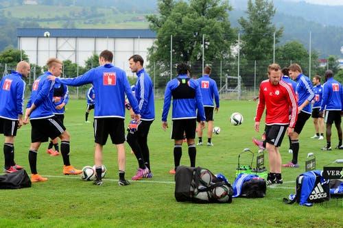 Die Spieler des FC Luzern beim Trainingsstart in die Saison 2015/2016 am Dienstag, 16. Juni 2015, auf der Allmend in Luzern. (KEYSTONE/Urs Flueeler) (Bild: Keystone / Urs Flüeler)