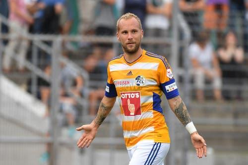 Der Luzerner Markus Neumayr hat das Tor zum 1:0 für den FC Luzern geschossen. (Bild: Keystone / Gabriele Putzu)