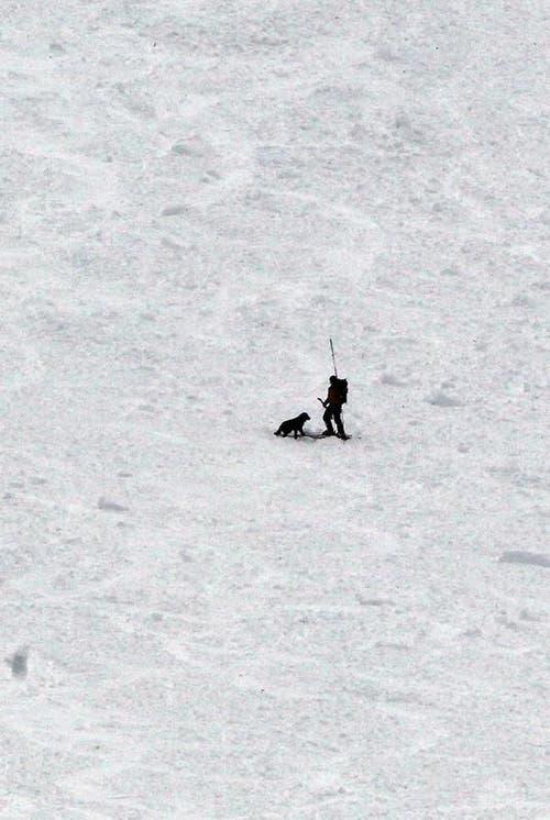 Ein Retter mit seinem Suchhund im Schutzkegel. (Bild: Keystone)