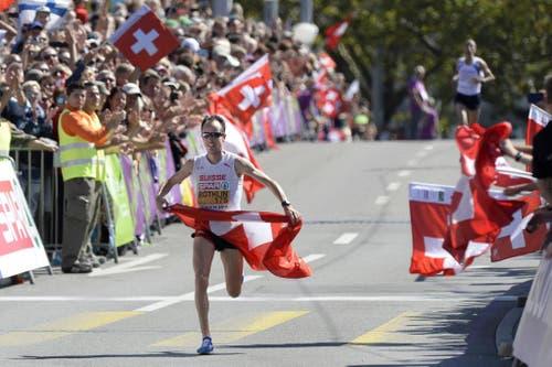 5. Platz für Viktor Röthlin im Marathon an der Leichtathletik-EM in Zürich. Der Obwaldner beendet mit diesem Rennen seine Karriere. (Bild: Keystone)