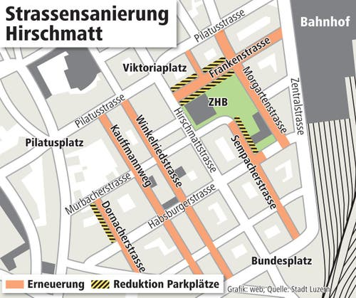 Die Strassen im Hirschmattquartier werden ab April 2015 saniert. (Bild: Keystone)