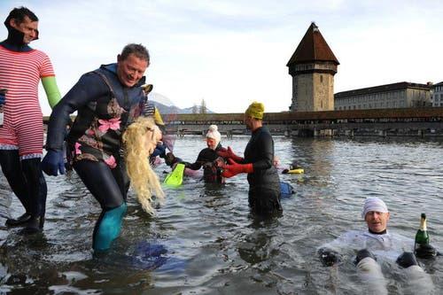 Einige scheinen im Wasser bleiben zu wollen. (Bild: Boris Bürgisser / Neue LZ)