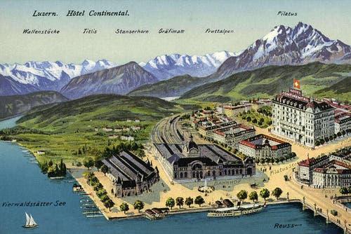 Aussenansicht des Hotels Continental mit Umgebung, undatiert. (Bild: PD)
