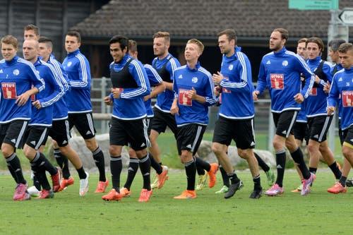 Guter Laune: Spieler des FC Luzern. (Bild: Keystone / Urs Flüeler)