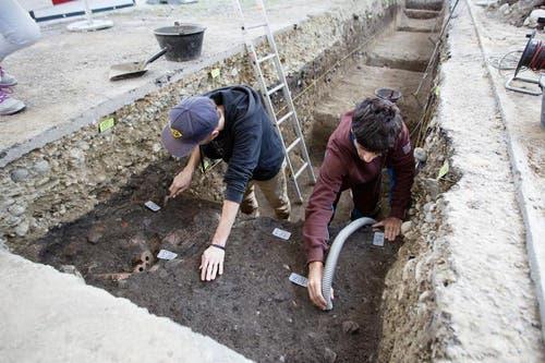 Zwei temporäre Mitarbeiter der Kantonsarchäologie arbeiten an der Freilegung der Gräber. (Bild: Manuela Jans / Neue LZ)