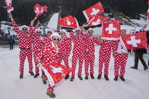 Die Schweizer Fans lassen sich nicht lumpen und bekennen Farbe. (Bild: Keystone /)